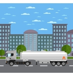 Tank truck on road in city vector