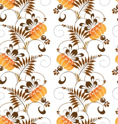 Pattern of stylized painting orange flowers vector