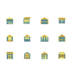 tents for trade flat design color icons vector image