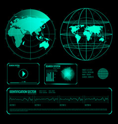 search radar screen blue elements set vector image