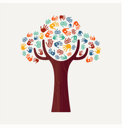 Hand print tree for culture diversity and help vector