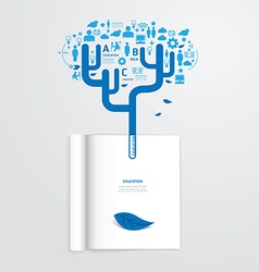 Infographic book open with leaf education vector