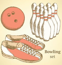 Sketch bowling set in vintage style vector