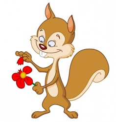 squirrel with flower vector image