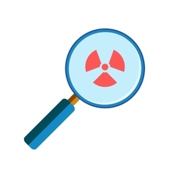 Magnifying glass with radiation sign vector