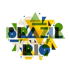 Brazil and rio in abstract geometric style design vector