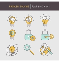 Flat line problem solving icons vector