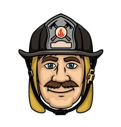 Firefighter or fireman in protective helmet vector