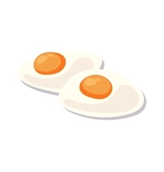 Scrambled eggs lunch plate on white background vector