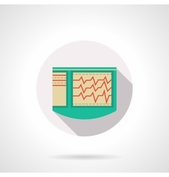 Cardiac diagnostics flat color design icon vector