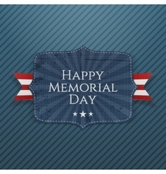 Happy memorial day festive sign with ribbon vector
