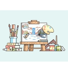 Easel and painting supplies vector