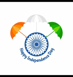 Independence day greeting with tricolour umbrella vector