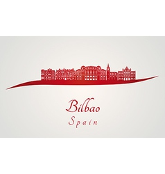 Bilbao skyline in red vector image