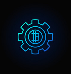 bitcoin in gear blue icon crypto currency vector image vector image