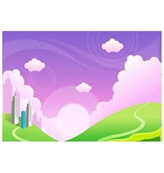 Buildings over Green mountain vector image vector image