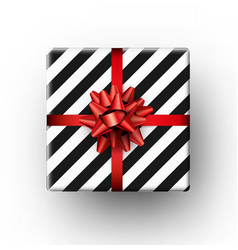 christmas gift with red bow vector image