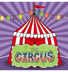 Circus tent poster vector image vector image