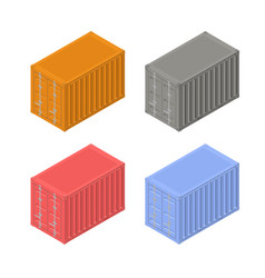 Colorful shipping containers in an isometric view vector