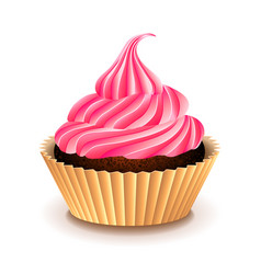 cupcake with pink cream isolated on white vector image