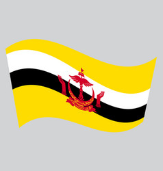 Flag of brunei waving on gray background vector