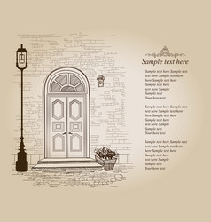 front door vintage background old house entrance vector image vector image