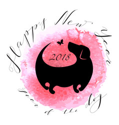 happy new year card with dog silhouette vector image vector image