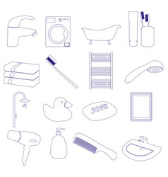 Home bathroom theme outline icons set eps10 vector