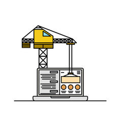 laptop and crane icon thin line website in under vector image vector image
