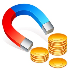 Magnet and coins vector image