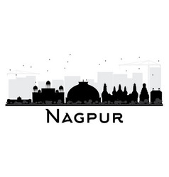 nagpur city skyline black and white silhouette vector image vector image