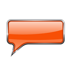 Orange speech bubble rectangular 3d icon with vector