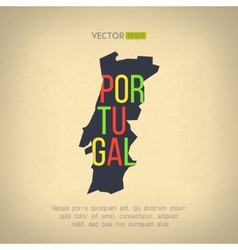 Portugal map in vintage design portuguese vector