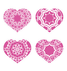 Romantic pink heart set symbol of valentines day vector