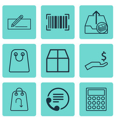 set of 9 e-commerce icons includes cardboard vector image