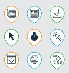 Set of 9 web icons includes cursor tap website vector