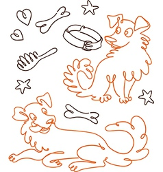 Set of Funny Doodle Dogs vector image vector image