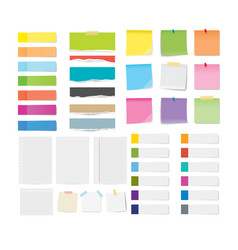 Set of sticky note and torn paper sheets isolated vector