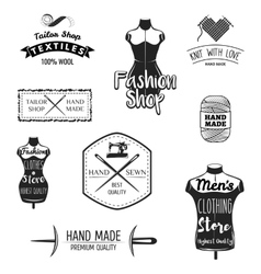 Set of vintage tailor labels emblems and designed vector image vector image