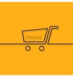 Shopping cart line design background vector image