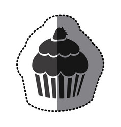 sticker shading monochrome cupcake with strawberry vector image vector image