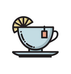 Tea cup with slice of lemon and teabag label icon vector