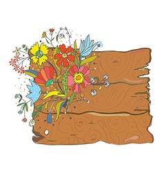 Wood texture background with flowers vector image vector image