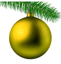 yellow christmas ball or bauble with fir branch vector image
