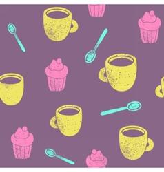 Cute teatime pattern cupcake cups spoons vector