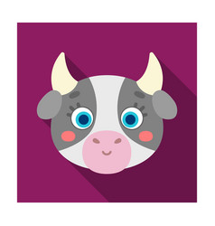 Cow muzzle icon in flat style isolated on white vector