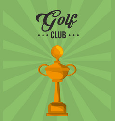golf club gold trophy winner vector image