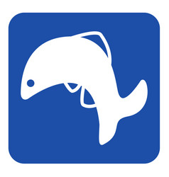 blue white sign - jumping fish dolphin icon vector image