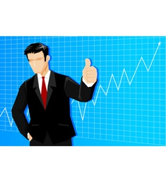 Businessman with line graph vector