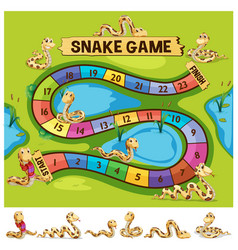 Boardgame template with snakes crawling vector